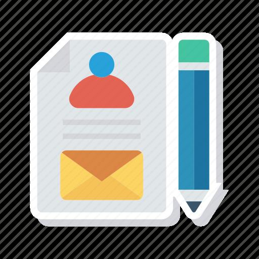 cv, document, edit, pencil icon