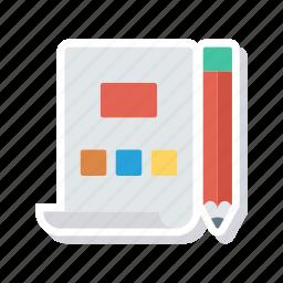 design, document, network, pencil icon