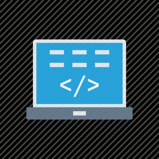 coding, laptop, programming, scripting icon