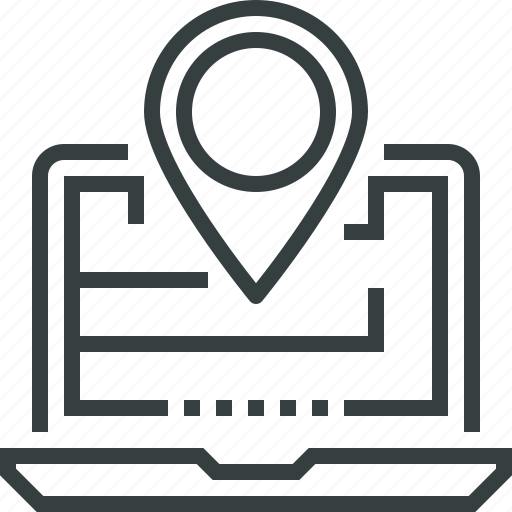 internet, laptop, location, map, marker, navigation, pin, pointer icon