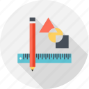 drafting, drawing, geometry, pencil, scale icon