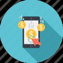 click, dollor, press, smartphone, touchscreen icon