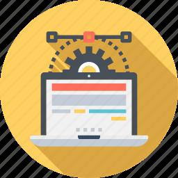development, laptop, optimization, setting icon