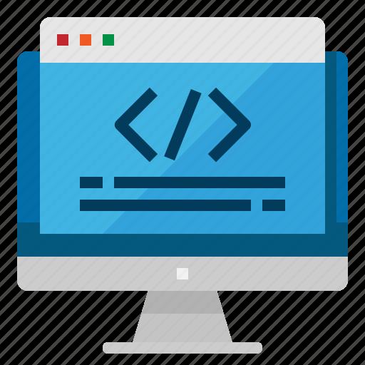 algorithm, coding, computer, monitor, programing icon