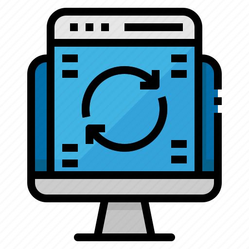 computer, date, software, synchronize, up icon
