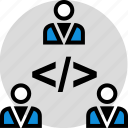 development, onilne, person, technology, three, users, web icon