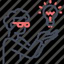 coder, developer, div, employee, idea, user, web icon