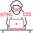 coder, css, designer, developer, html, program, web icon