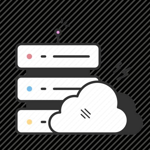 data hosting, data network, database, server icon