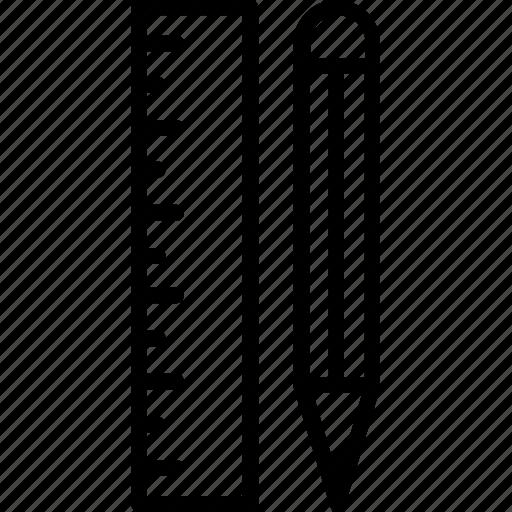 pencil, pencil and scale, scale, scale and pencil, stationary icon