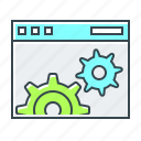 cogwheels, development, optimization, web, website icon