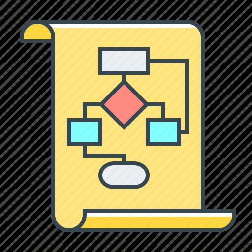 algorithm, flowchart, scheme, structure icon