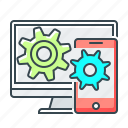 application, cogwheels, communication, mobile, sync icon