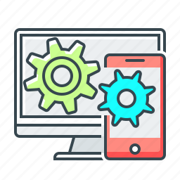 application, cogwheels, communication, mobile, sync icon
