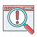 audit, exclamation mark, magnifier, magnifying, search, site icon