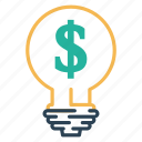 bulb, dolar, idea, lamp, money icon