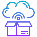 box, cloud, communication, storage, wireless icon