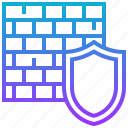 firewall, protection, security, shield, wall icon