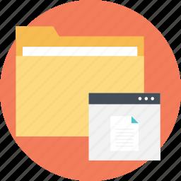 document folder, information document, project data, project documentation, project files icon