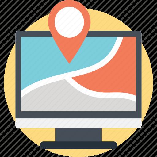 gps, navigation satellite system, online map, web navigation, website location pin icon