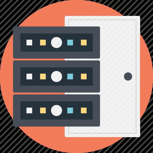 hardware cabinets, network racks, server cabinets, server equipment rack, server shelves icon