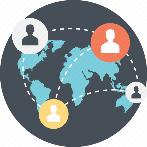 global connection, global networking, internet access, internet connection, people networking icon