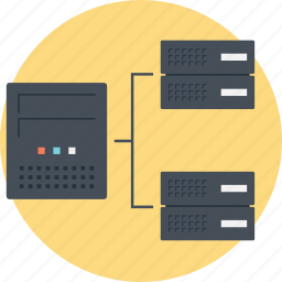 data center, data network, data servers, database architecture, structured query language icon