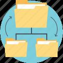 data folder connection, data folders, folder sharing, interconnected data folder, network folders icon