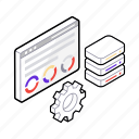 data analysis, data configuration, data integrity, data management, data security, data storage icon