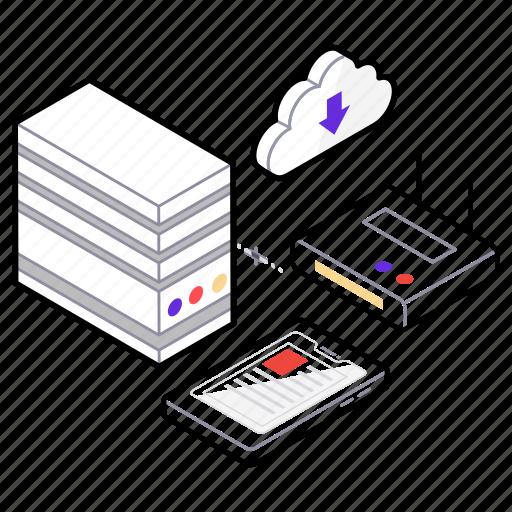 cloud data, cloud storage, data sharing, data warehouse, database icon