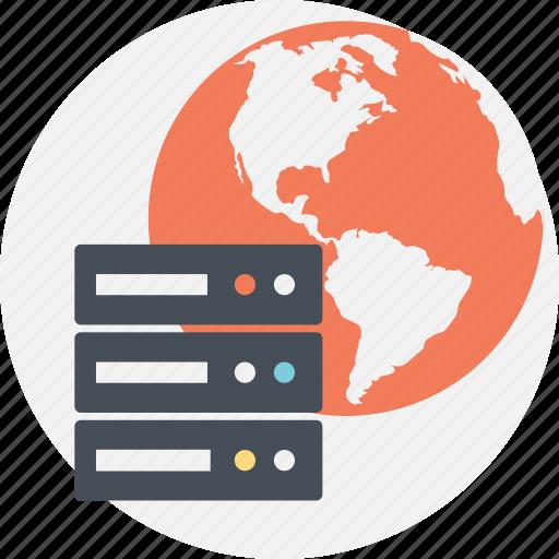 database server, global server, internet server, server network, worldwide server connection icon