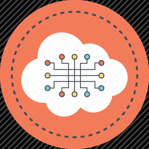circuit cloud, cloud computing, cloud computing application, cloud computing circuit, cloud technology concept icon