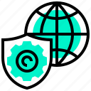 communication, global, network, security, service, shield icon