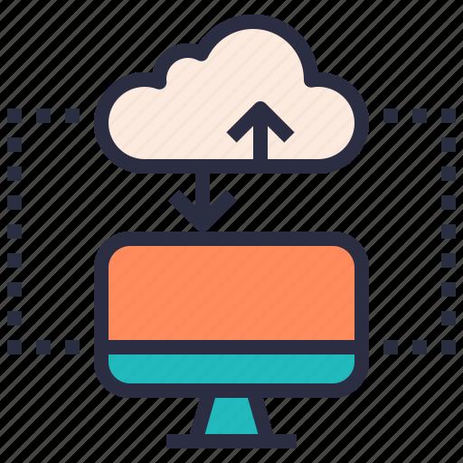 cloud, computer, download, hosting, internet, upload, web icon