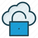 access, cloud, database, unlock icon
