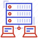 data, data management, network, server, unlink server icon