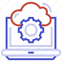cloud, cog, laptop, setting icon