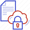 cloud, lock, paper, protection, security icon
