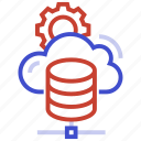 cloud, cog, gear, server icon