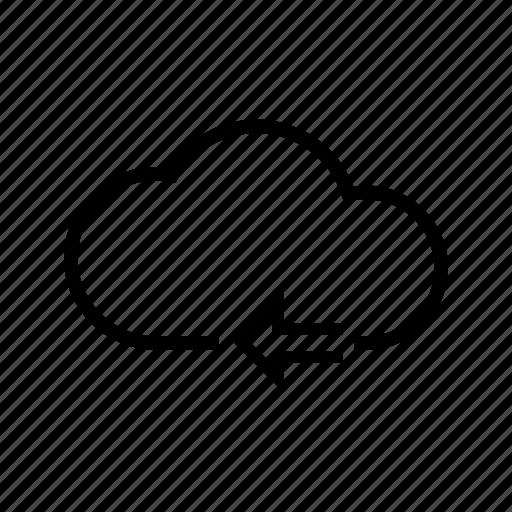 arrow, back, cloud, previous, storage, web icon