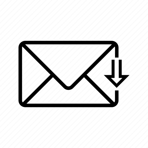 arrow, download, inbox, letter, mail, web icon