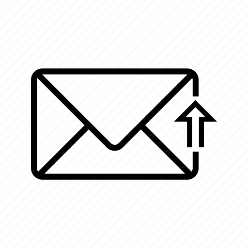 arrow, inbox, letter, mail, upload, web icon