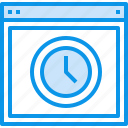 browser, design, interface, page, time, web, website icon