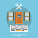 closed, connection, internet, maintenance, now, technology, website icon