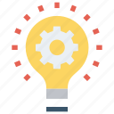 bulb, development, gear, idea, lamp, light bulb, optimization icon