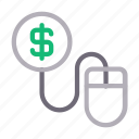 buying, dollar, mouse, online, payperclick icon