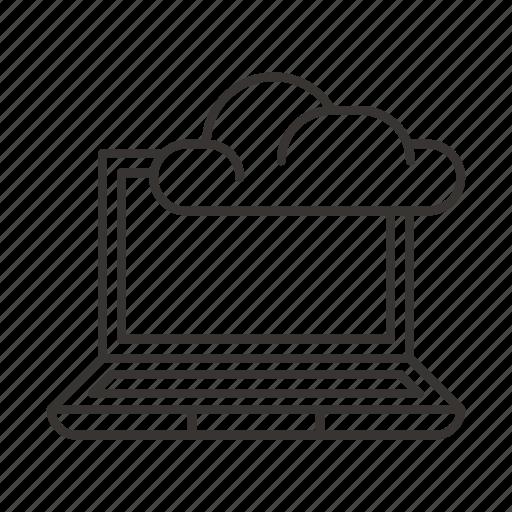 cloud, data, laptop, network, storage icon