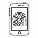 finger, fingerprint, scan, scanner, security, smartphone icon