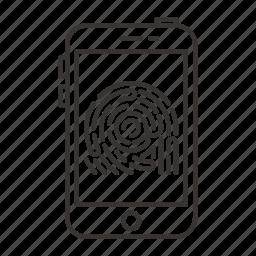 finger, fingerprint, scan, scanner, security, smartphone icon