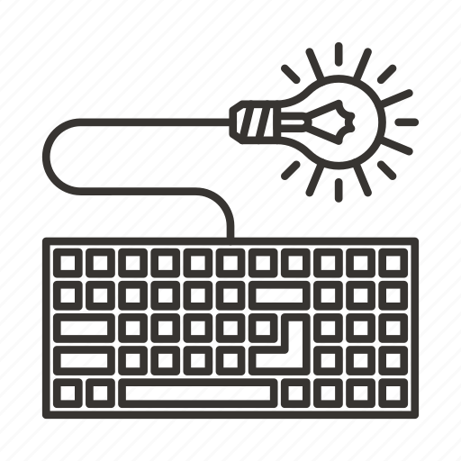 bulb, device, idea, keyboard, lamp icon